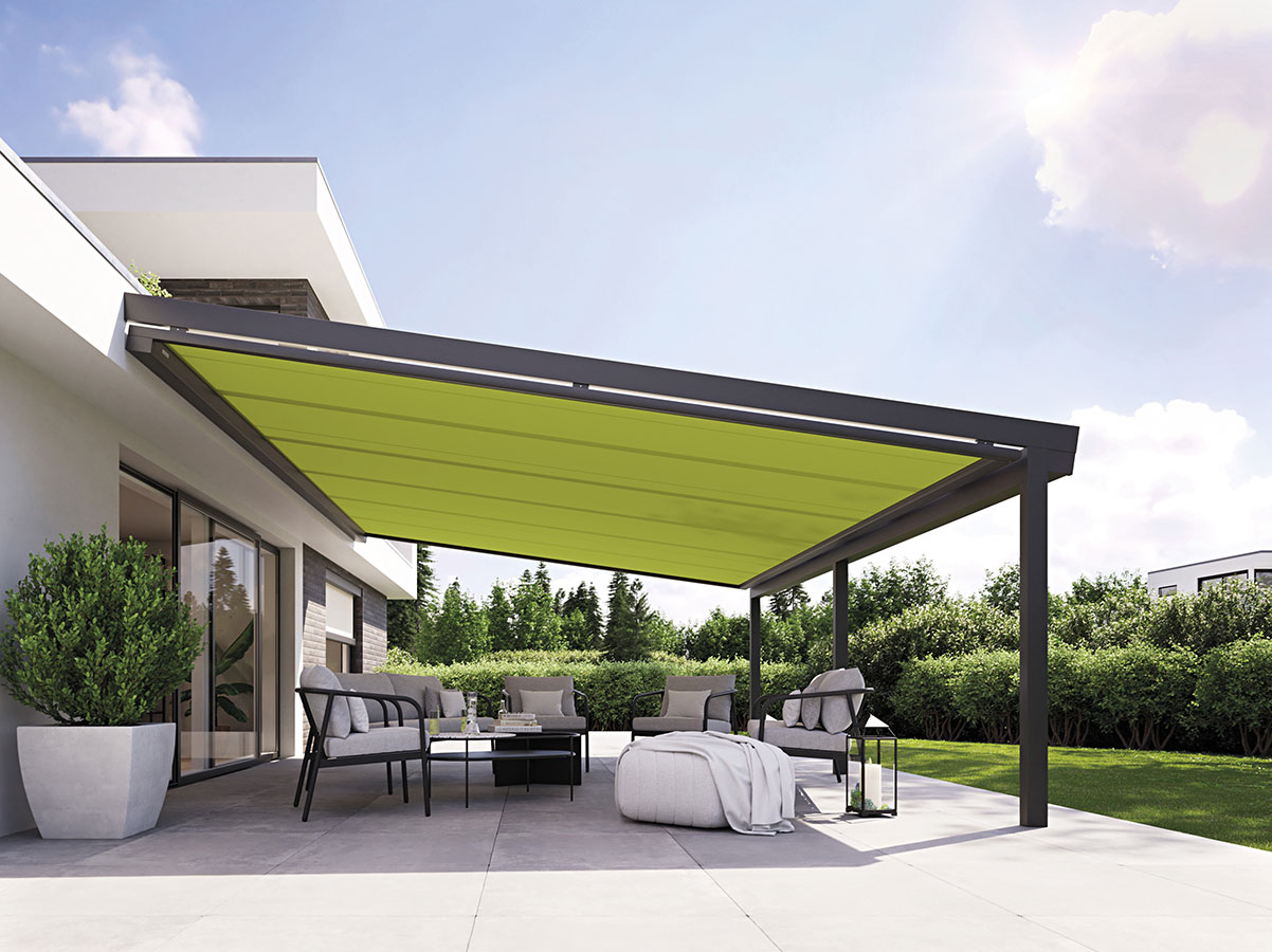 Pergola con tenda inferiore